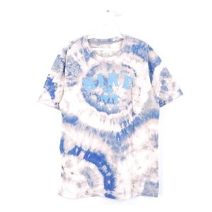 Nike Mens Large Swoosh Acid Wash T Shirt Blue